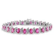 Created Pink Sapphire and Diamond Accent S-Link Tennis Bracelet in Sterling Silver