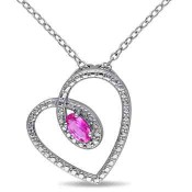 Created Pink Sapphire Tilted Heart Pendant Necklace in Sterling Silver