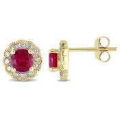 Created Ruby Flower Halo Stud Earrings in 10K Yellow and White Gold