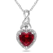 Created Ruby and Diamond Accent Heart Swirled Infinity Pendant in Sterling Silver