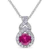 Created Ruby and White Sapphire Teardrop Twist Pendant Necklace in Sterling Silver