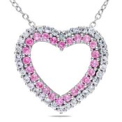 Created Pink & White Sapphire Diamond Accent Heart Pendant Necklace in Sterling Silver