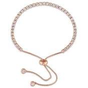 White Topaz Tassel Bolo Bracelet in Rose Gold Flash Plated Sterling Silver