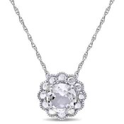 White Topaz Flower Pendant Necklace in 10k White Gold