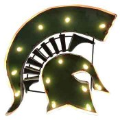 Michigan State Spartan Collegiate Metal Sign with Lights