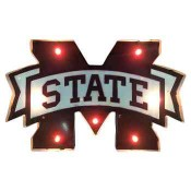 Mississippi State Collegiate Metal Sign with Lights