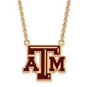 Texas A&M Sterling Silver Yellow Gold Flash Plated Pendant