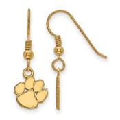 Clemson Tigers Gold Flash Plated Sterling Silver Dangle Earrings