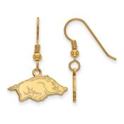 Arkansas Razorbacks Gold Flash Plated Sterling Silver Dangle Earrings