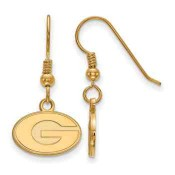 Georgia Bulldogs Gold Flash Plated Sterling Silver Dangle Earrings