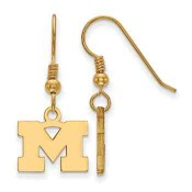 Michigan Wolverines Gold Flash Plated Sterling Silver Dangle Earrings