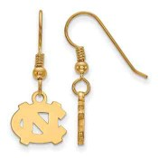 North Carolina Tar Heels Gold Flash Plated Sterling Silver Dangle Earrings