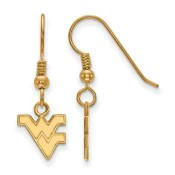 WVU Mountaineers Gold Flash Plated Sterling Silver Dangle Earrings