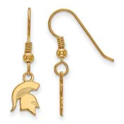 Michigan State Spartans Gold Flash Plated Sterling Silver Dangle Earrings