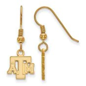 Texas A&M Aggies Gold Flash Plated Sterling Silver Dangle Earrings