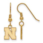 Nebraska Huskers Gold Flash Plated Sterling Silver Dangle Earrings